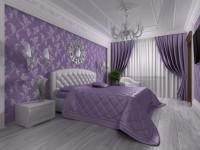 Лиловая спальня — фото дизайна спальни с сиреневым оттенком