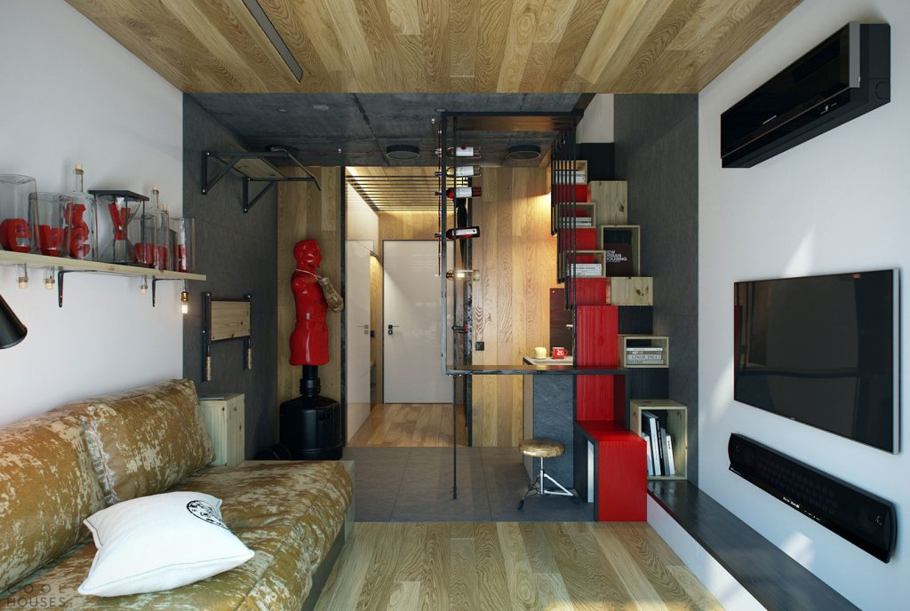 Дизайн комнаты студии 18 кв м