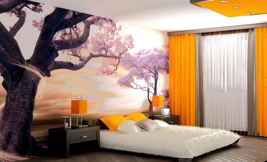 Интерьер для спальной комнаты. обои