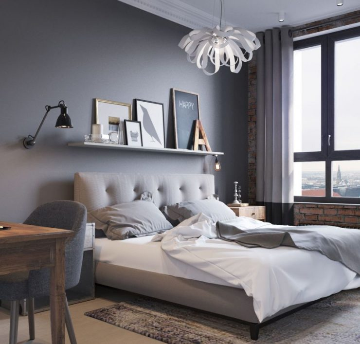 Дизайн комнаты в серых тонах