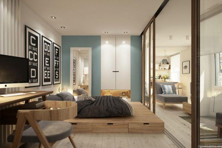 Спальня в однокомнатной квартире 3
