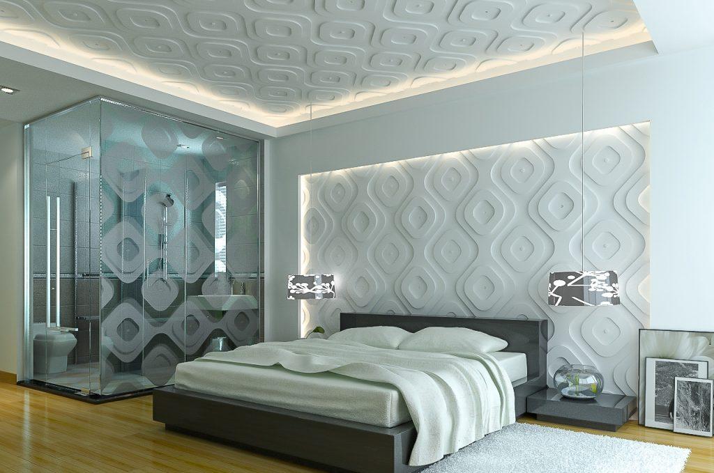 3д панели в интерьере спальни фото