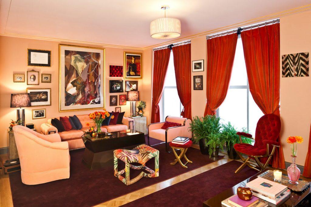 Красные шторы в интерьере фото