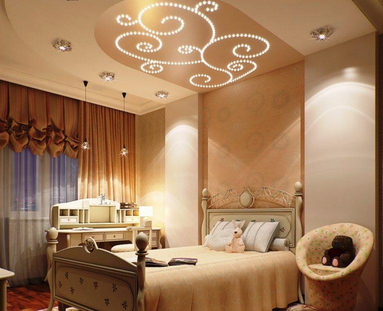 Дизайн спальни с натяжными потолками