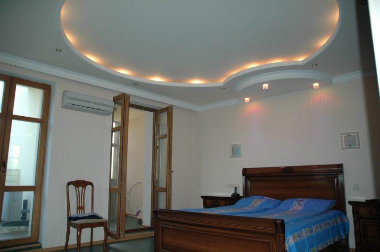 Подвесной потолок в спальне из гипсокартона дизайн для
