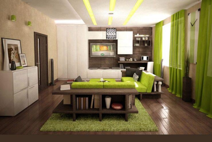 Дизайн комнаты с салатово бежевой мебелью