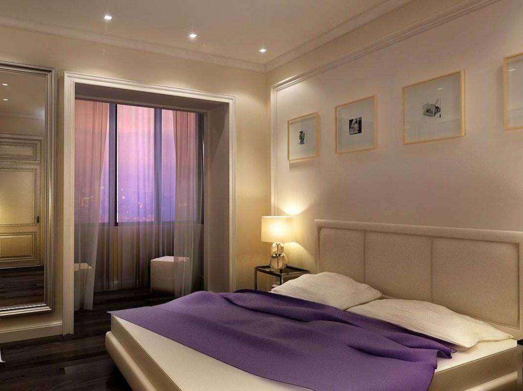 Дизайн потолка спальни и лоджии.