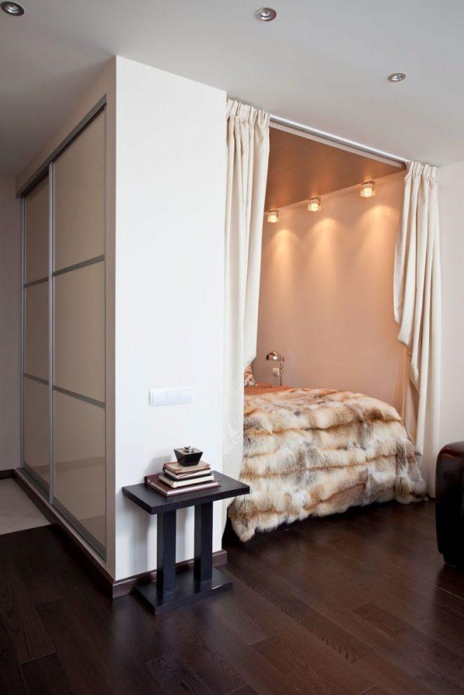Спальня в однокомнатной квартире 22
