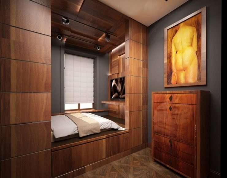 Спальня в однокомнатной квартире 39