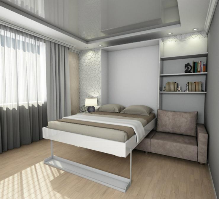 Спальня в однокомнатной квартире 73