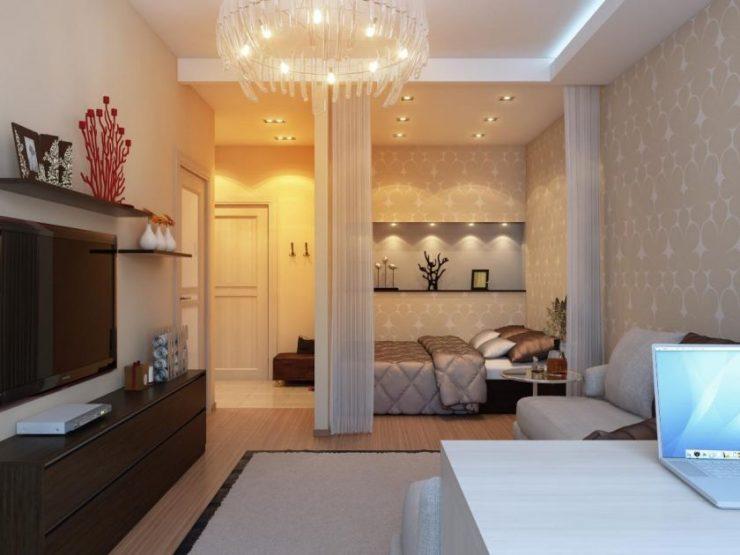 Спальня в однокомнатной квартире 51
