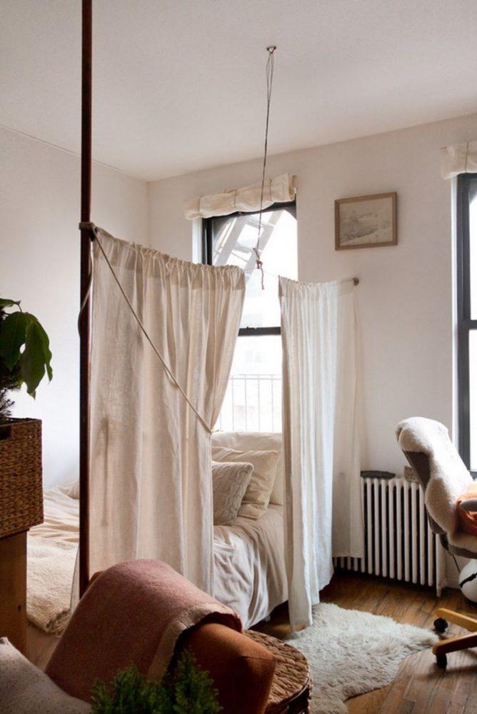 Спальня в однокомнатной квартире 62