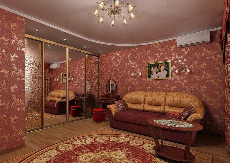 Дизайн комнаты бордового цвета