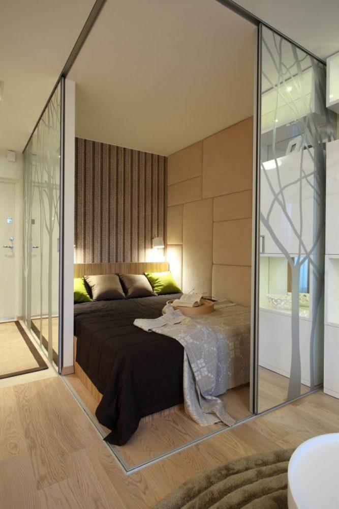 Спальня в однокомнатной квартире 55