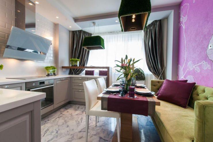 Дизайн кухни 14 кв м фото с диваном