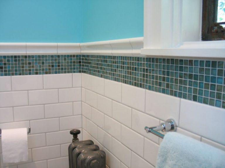 Glass tile in bathroom