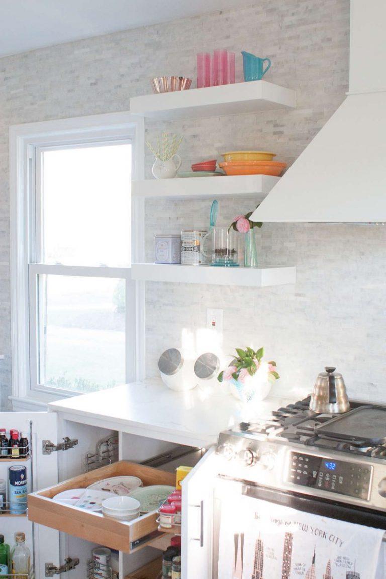 Открытые полки для кухни фото своими руками