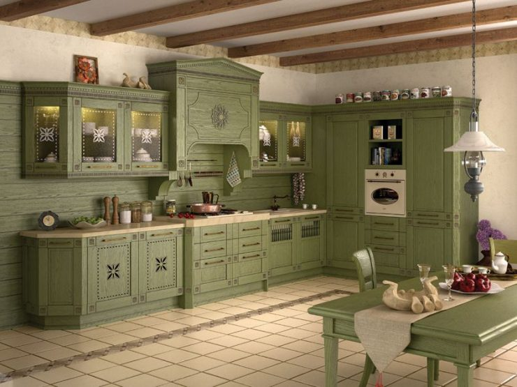 фисташковый цвет фото кухни