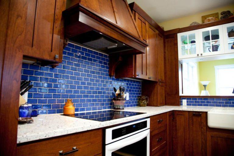 Blue subway tile kitchen