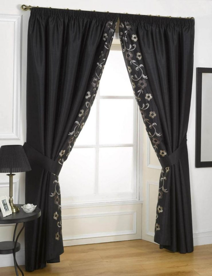 Black curtain valance