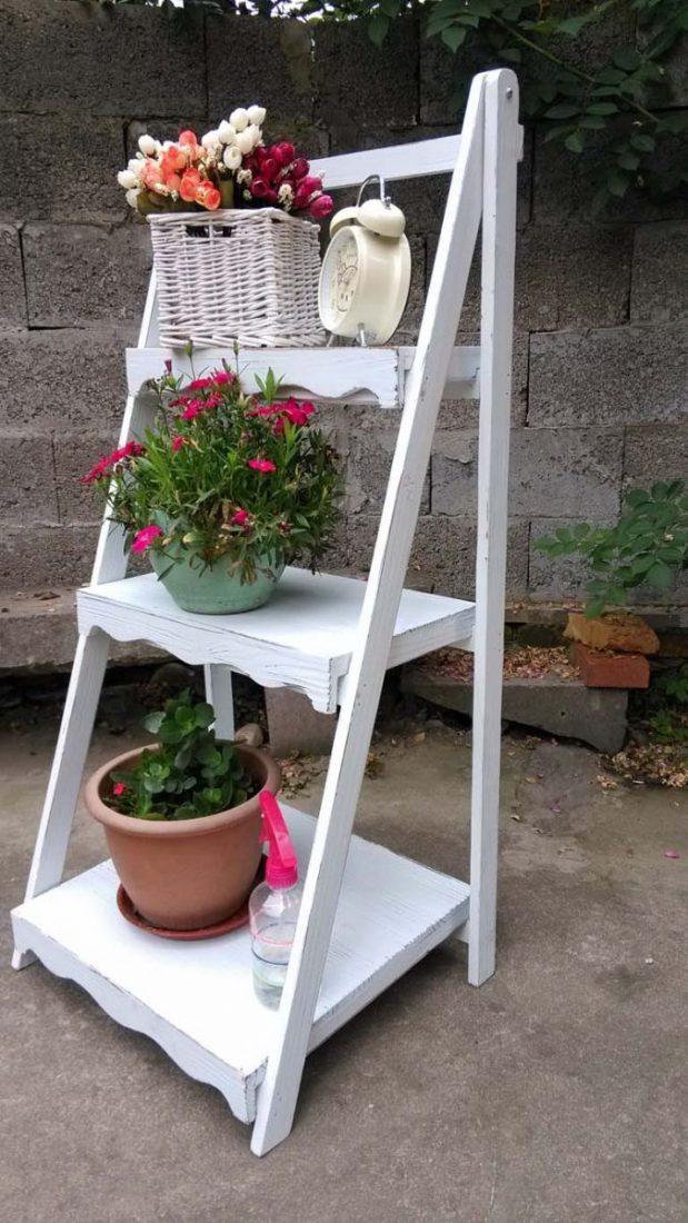 Садовые этажерки для цветов своими руками 14