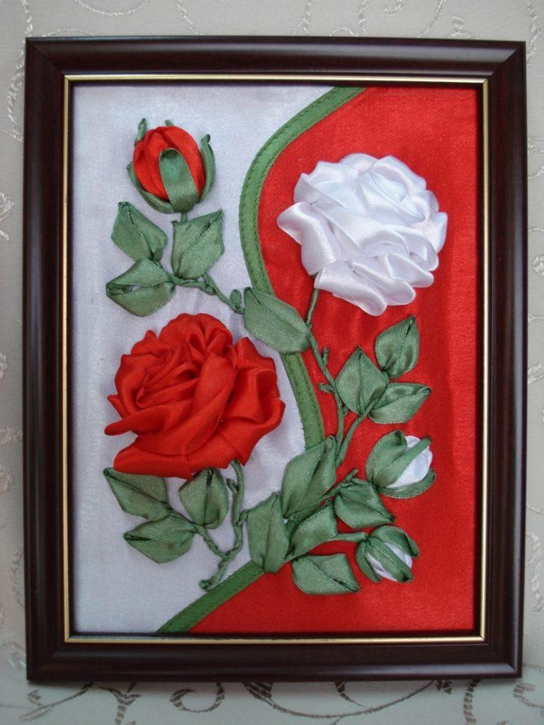 Картина из лент и ткани своими руками
