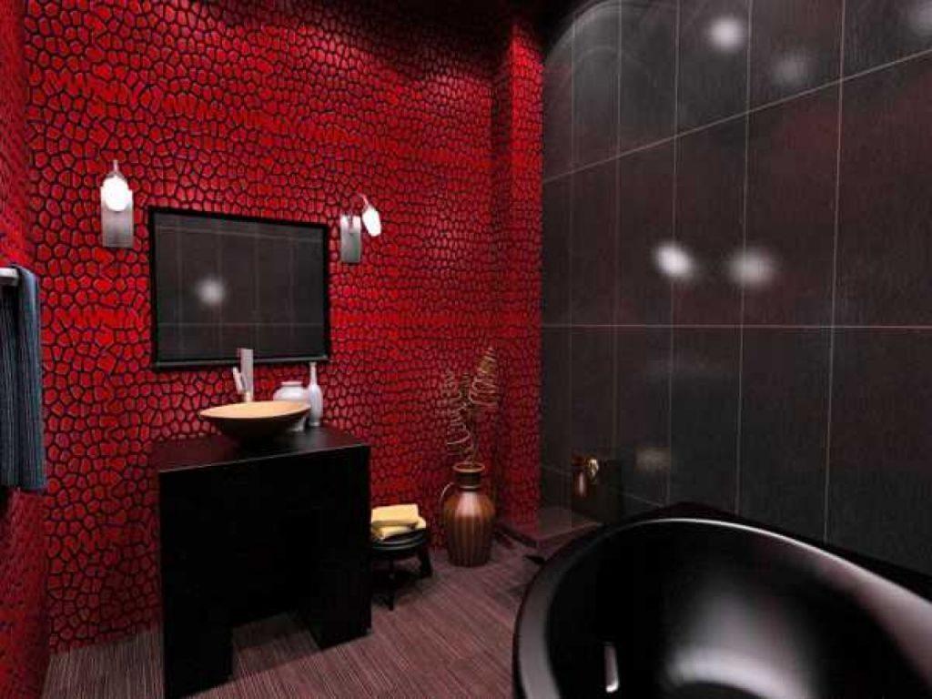 Ванна дизайн в красном цвете