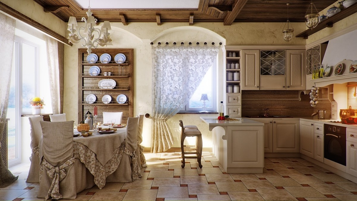 шторы на кухню стиль прованс