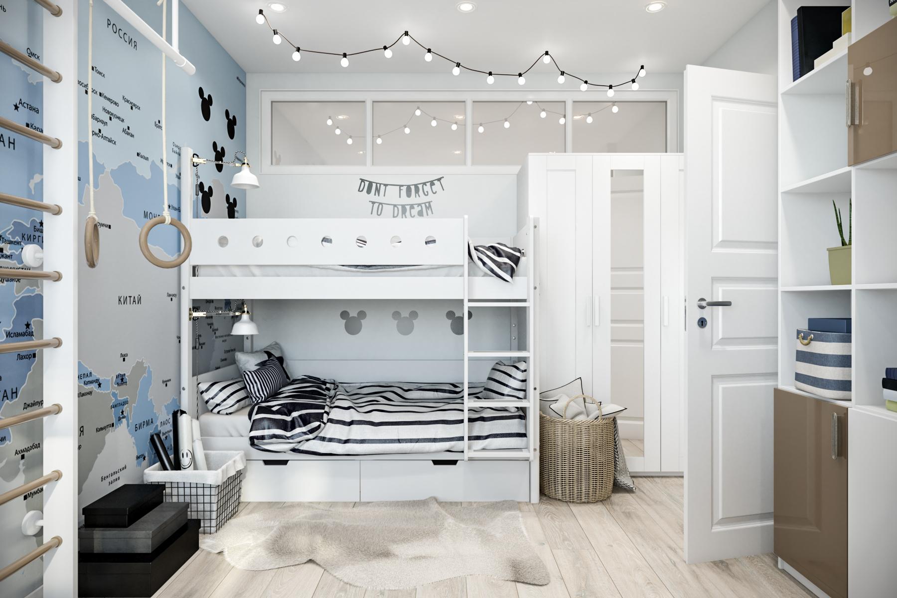 интерьер комнаты подростка-мальчика в скандинавском стиле