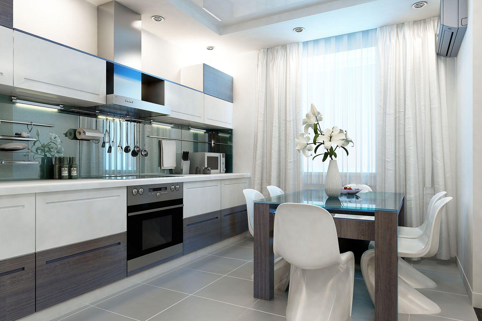 белые шторы на кухню