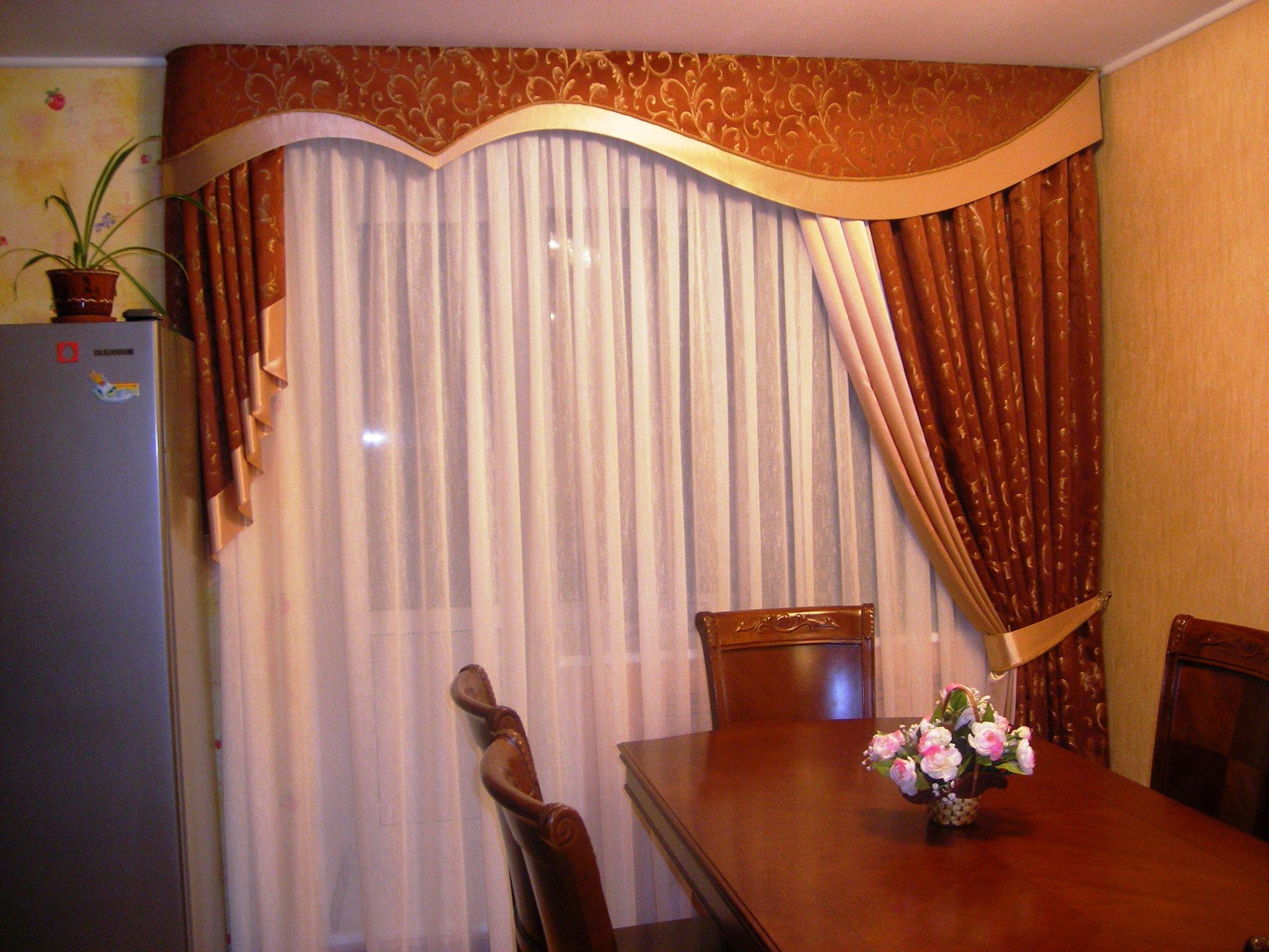 шторы с ламбрекенами на кухню