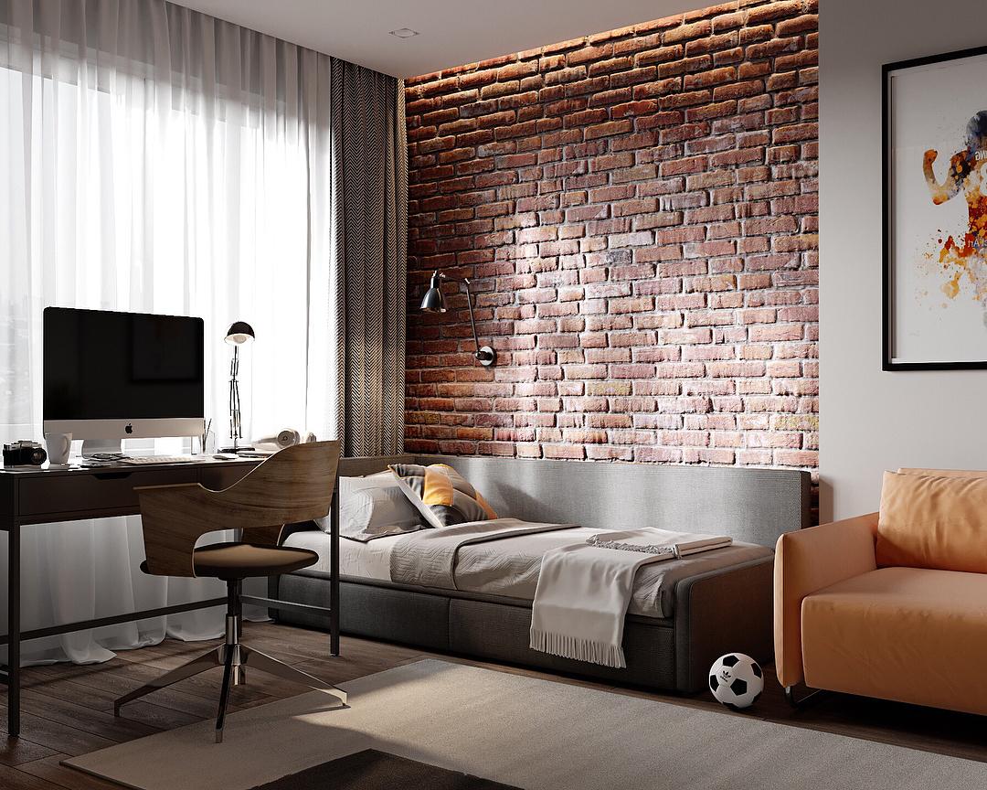 интерьер комнаты мальчика-подростка в стиле лофт