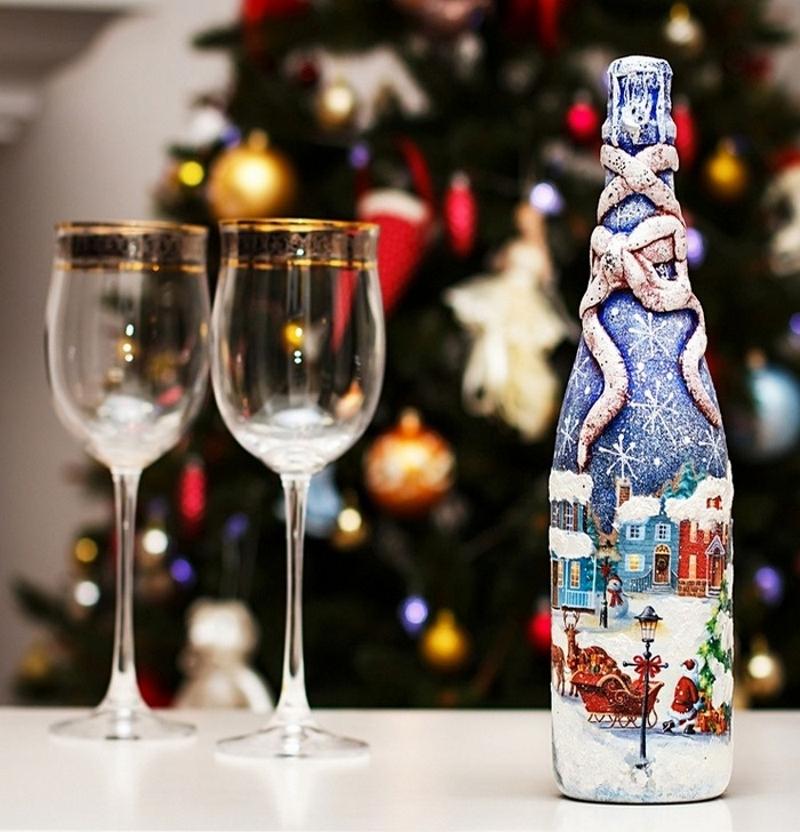 Декупаж бутылки шампанского к Новому году: пошаговая инструкция и полезные советы (50+ фото)