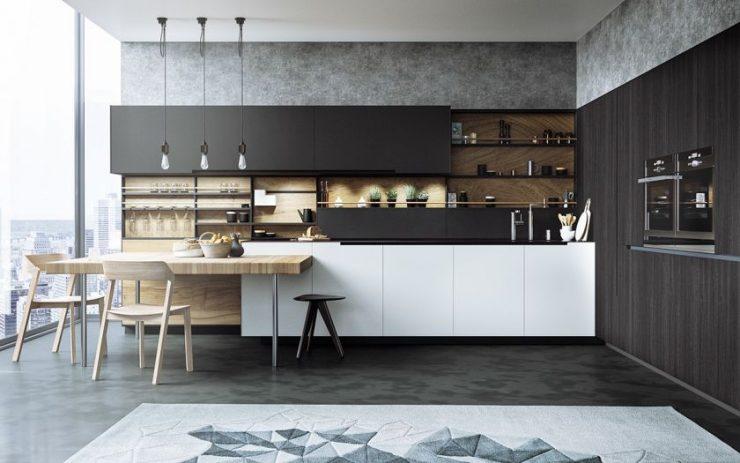 кухни черно белые дизайн фото 6