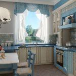 ассиметричные шторы на кухню