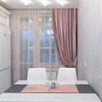 шторы на одну сторону на кухне